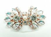 """Rhinestone Applique Rose Gold Crystal w/ Pearl Center Shoe Patch 2"""" GB826"""