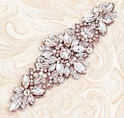"Rose Gold Applique w/ Crystal Glass Rhinestones Rose Gold Settings w/ Pearls Wedding Gown Belt Design 5.5"" GB827"