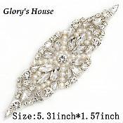 """Applique w/ Crystal Glass Rhinestones Silver Settings w/ Pearls Wedding Gown Belt Design 5.5"""" GB828"""