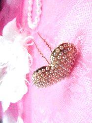 """GB83 Gold Pearl Heart Bridal Pin Hair Bow 1.25"""""""