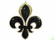"""Black Gold Fleur De Lis Sequin Embroidered Applique 6.5"""" GB831"""