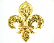 """Gold Fleur De Lis Sequin Embroidered Applique 6.5"""" GB831"""