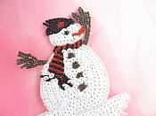 "Snowman Sequin Beaded Applique 4.75"" GB832"