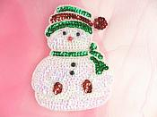 "Snowman Sequin Beaded Applique 4.5"" GB835"