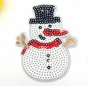 "Snowman Sequin Iron on Applique 2.75"" GB836"