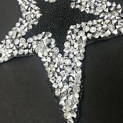 "Black Star Trimmed with Silver Beading 3.5"" GB849"
