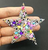 "Star with Multi Color Stones and Beading Applique 3"" GB850"