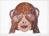"Monkey Peek a Boo Sequin Applique  8.5"" GB853"