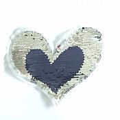 "Patriotic Red Blue  and Silver Heart Sequin Transforms Applique 6"" GB857"