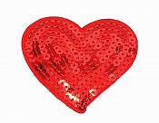 "Red Valentine Heart Sequin Applique 2.75"" GB863"
