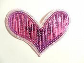 "Pink Silver Valentine Heart Sequin Applique 4"" GB864"