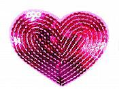 """Fuchsia Valentine Heart Sequin Applique 3.25"""" GB866"""