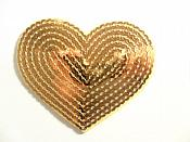 "Gold Valentine Heart Sequin Applique 3.25"" GB866"