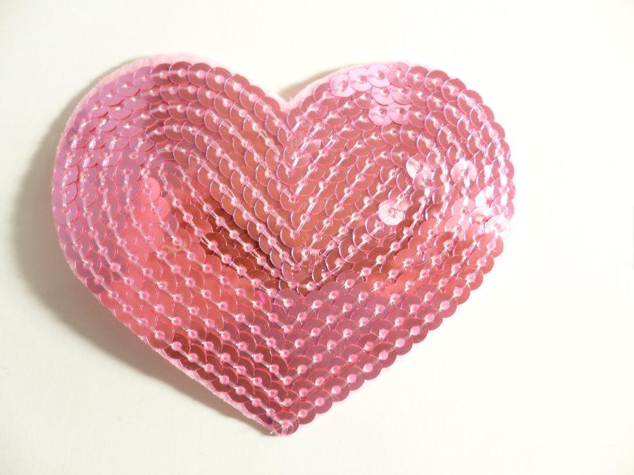 "Pink Valentine Heart Sequin Applique 3.25"" GB866"