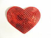 "Red Valentine Heart Sequin Applique 3.25"" GB866"