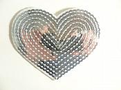 """Silver Valentine Heart Sequin Applique 3.25"""" GB866"""