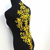 "Bodice Embroidered Applique Gold Metallic Designer Scroll Motif Iron on  23"" GB869"