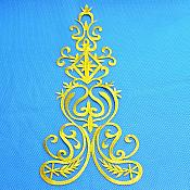 "Bodice Embroidered Applique Gold Metallic Designer Scroll Motif Iron on  25"" GB870"