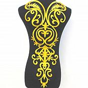 "Bodice Embroidered Applique Gold Metallic Designer Scroll Motif Iron on  25"" GB870"
