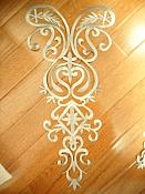 "Bodice Embroidered Applique Silver Metallic Designer Scroll Motif Iron on 25"" GB870"