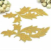 """LEFT SIDE ONLY Applique Gold Metallic Embroidered Venice Lace 9""""  OSGB871X"""