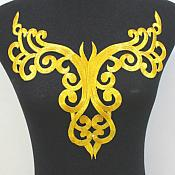 "Bodice Embroidered Applique Gold Metallic Designer Scroll Motif Iron on 12"" GB872"