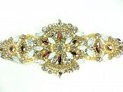 "Royal Beauty Gold Beaded Applique Crystal Opal Bronze Rhinestones w/ Pearls 9.75"" GB874"