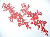 """Embroidered Lace Appliques Red Floral Venice Lace Mirror Pair 13"""" GB878X"""