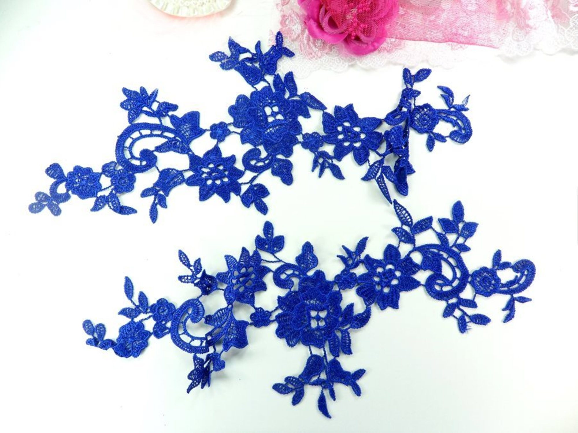 "Embroidered Floral Applique Mirror Pair Blue Clothing Patch Craft Motif 13"" GB878x-bl"