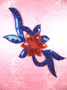 GB88 Red Royal Blue Flower Sequin Embroidered Floral Applique 9.25""