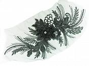"REDUCED 3D Applique Embroidered Floral Black Rhinestone Craft Patch 14""  RMGB884"