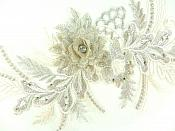 "REDUCED 3D Applique Embroidered Floral Metallic Gold Champagne Rhinestone Craft Patch 14""  RMGB884"