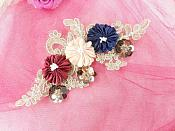 """3 Dimensional Applique Sequin Rhinestone Venice Lace Floral Sewing Clothing Patch 9.5"""" GB885"""
