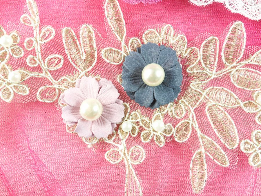 """3 Dimensional Applique Pearl Venice Lace Floral Sewing Clothing Patch 12"""" GB887"""
