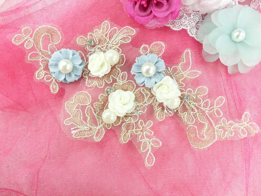 """3 Dimensional Applique Rhinestone Pearl Venice Lace Floral Sewing Clothing Patch 10"""" GB888"""