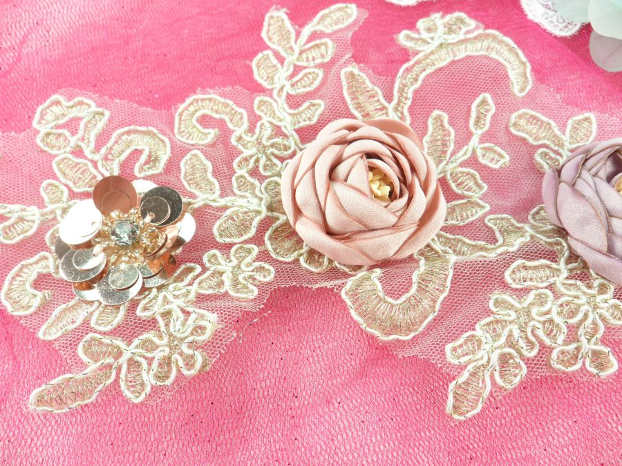 """3 Dimensional Applique Sequin Rhinestone Venice Lace Floral Sewing Clothing Patch 10.5"""" GB889"""