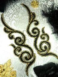 "GB89 MIRROR PAIR Black Gold Metallic Iron On Designer Embroidered Applique 6.75"""