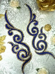 GB89 MIRROR PAIR Blue Gold Metallic Iron On Designer Embroidered Applique 6.75""