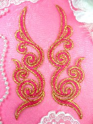 GB89 MIRROR PAIR Fuchsia Gold Metallic Iron On Designer Embroidered Applique 6.75""