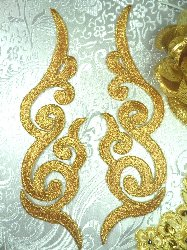 GB89 MIRROR PAIR Gold Metallic Iron On Designer Embroidered Applique 6.75""
