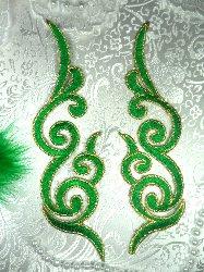 "GB89 MIRROR PAIR Green Gold Metallic Iron On Designer Embroidered Applique 6.75"""