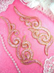 "GB89 MIRROR PAIR Pink Gold Metallic Iron On Designer Embroidered Applique 6.75"""