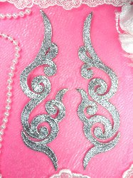 """GB89 Embroidered Applique MIRROR PAIR Silver Scroll Metallic Iron On Patch 6.75"""""""