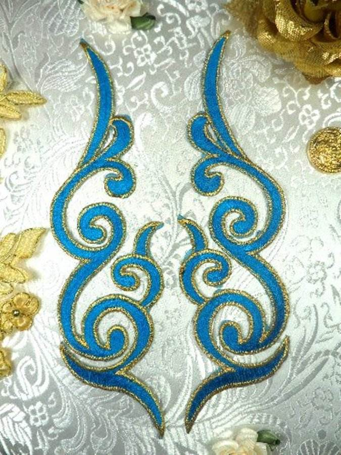 GB89 MIRROR PAIR Turquoise Gold Metallic Iron On Designer Embroidered Applique 6.75""