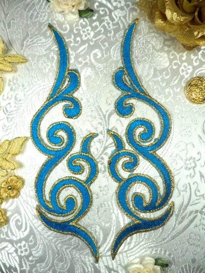 "REDUCED RMGB89 MIRROR PAIR Turquoise Gold Metallic Iron On Designer Embroidered Applique 6.75"""