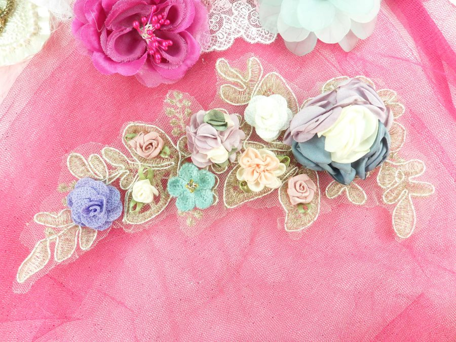 """3 Dimensional Applique Rhinestone Venice Lace Floral Sewing Clothing Patch 9.25"""" GB890"""