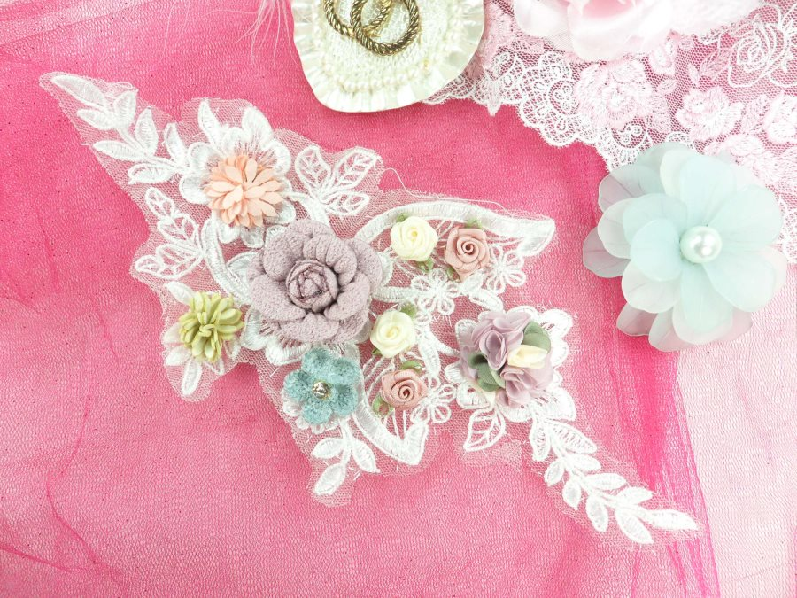 """3 Dimensional Applique Rhinestone Venice Lace Floral Sewing Clothing Patch 10"""" GB891"""