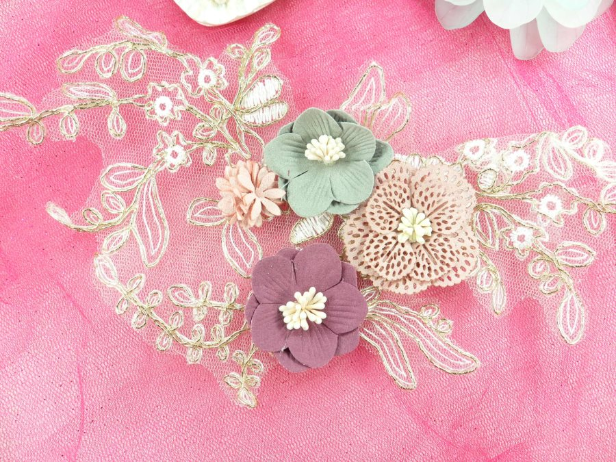 """3 Dimensional Applique Venice Lace Floral Sewing Clothing Patch 11.25"""" GB893"""