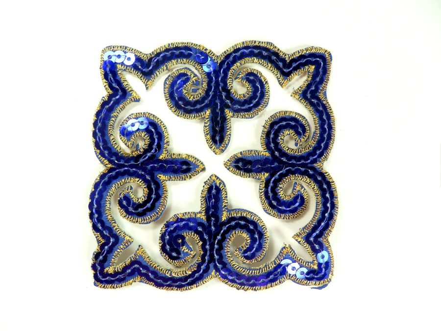 "Sequin Applique Embroidered Edge Blue and Gold Motif Clothing Patch 5"" GB897"