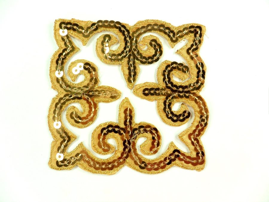 """Sequin Applique Embroidered Edge Gold Motif Clothing Patch 5"""" GB897"""
